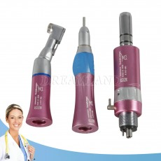 NSK Style Dental Low Speed Handpiece Contra Angle Straight Nosecone Air Motor Pink